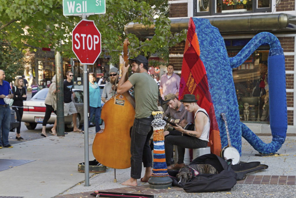 Buskers playing in Asheville, NC